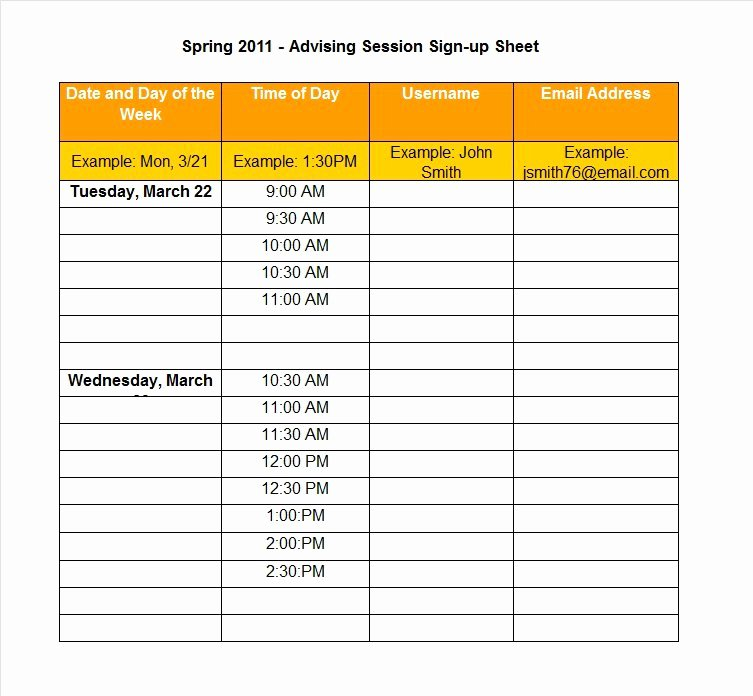 Template for Sign Up Sheet Fresh 40 Sign Up Sheet Sign In Sheet Templates Word & Excel