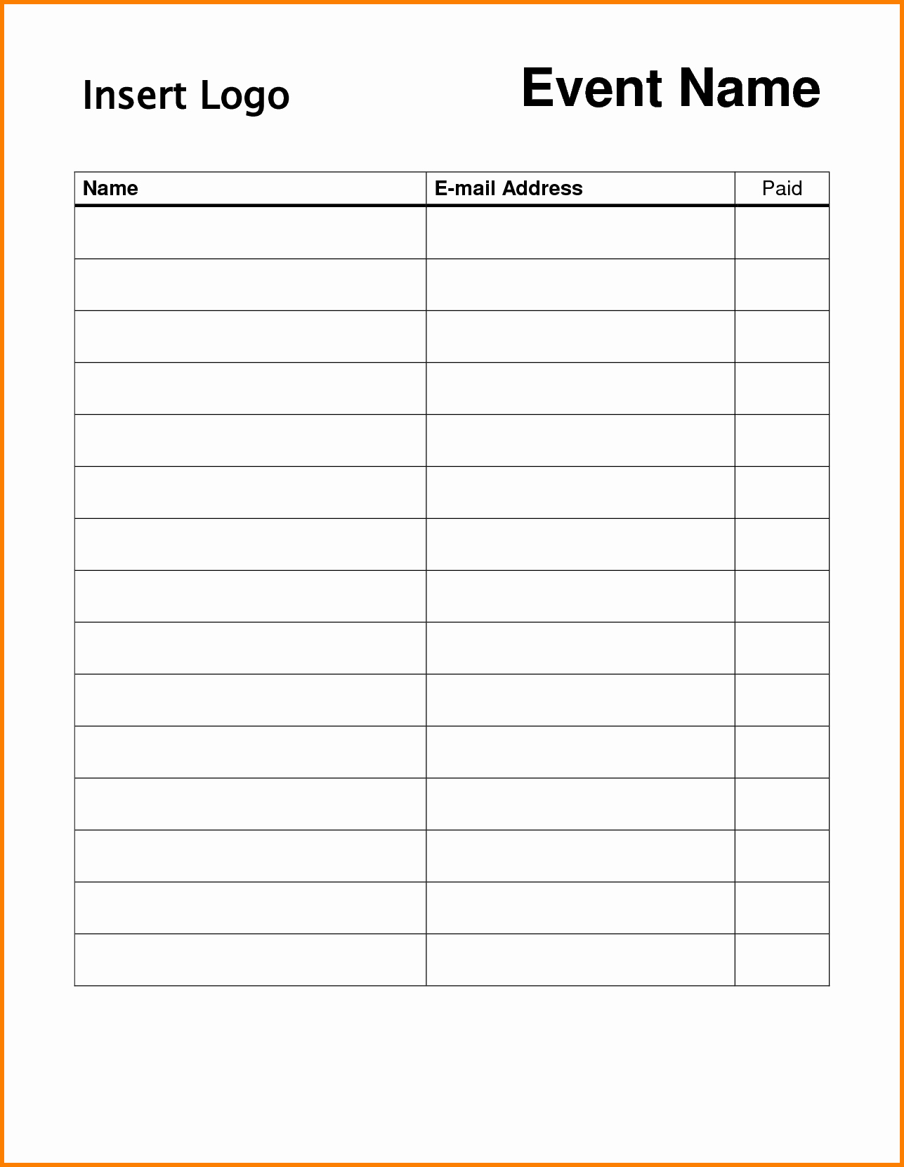 Template for Sign Up Sheet New event Sign Up Sheet Template