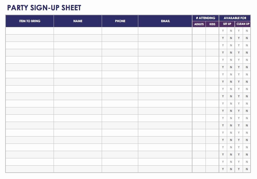 Template for Sign Up Sheet Unique Free Sign In and Sign Up Sheet Templates