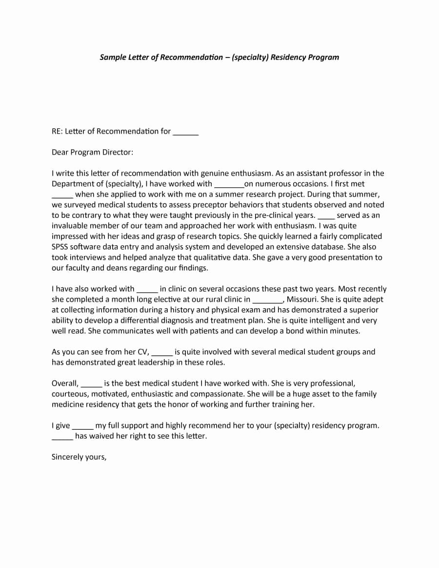 Template Letter Of Recommendation Best Of 43 Free Letter Of Re Mendation Templates & Samples
