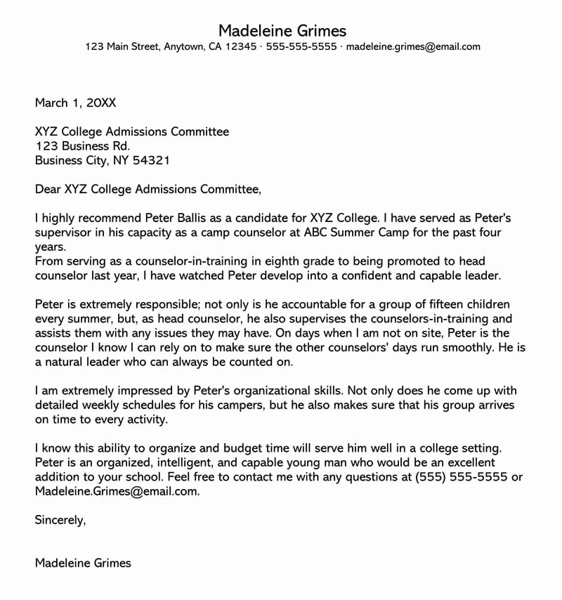 Template Letter Of Recommendation Fresh College Re Mendation Letter 10 Sample Letters & Free