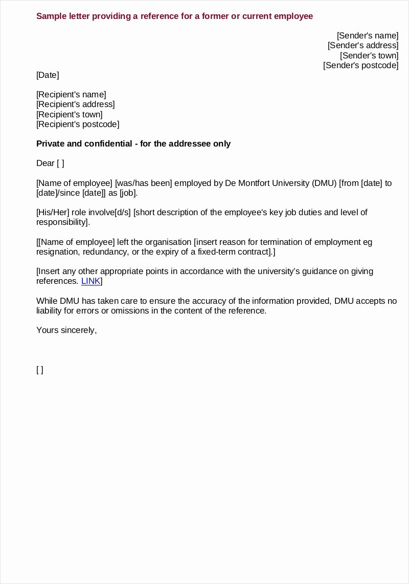 Template Letter Of Recommendation Fresh Free 9 Employee Reference Letter Samples In Pdf