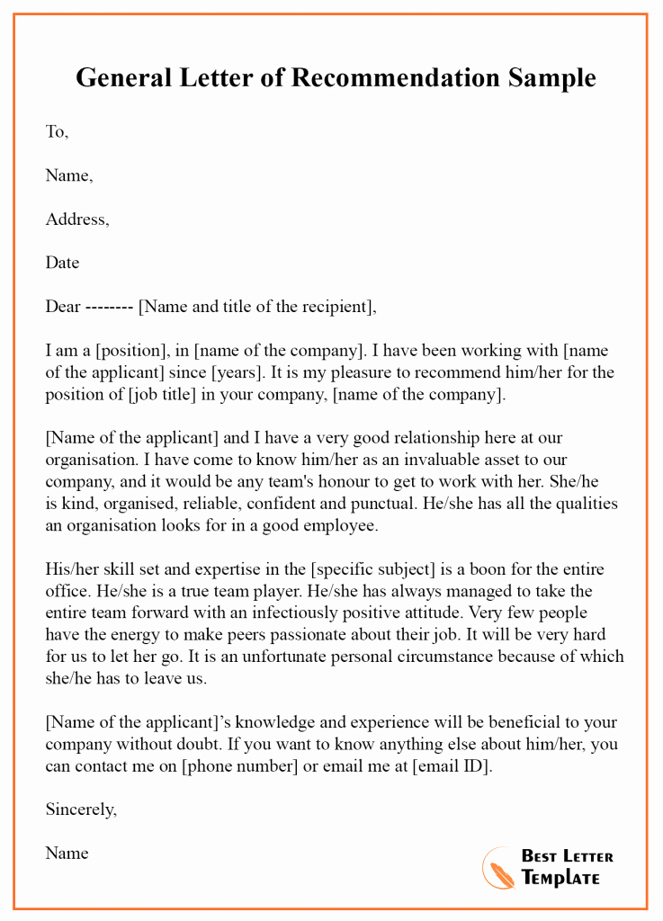 Template Letter Of Recommendation Lovely 12 Free Re Mendation Letter – Sample & Example