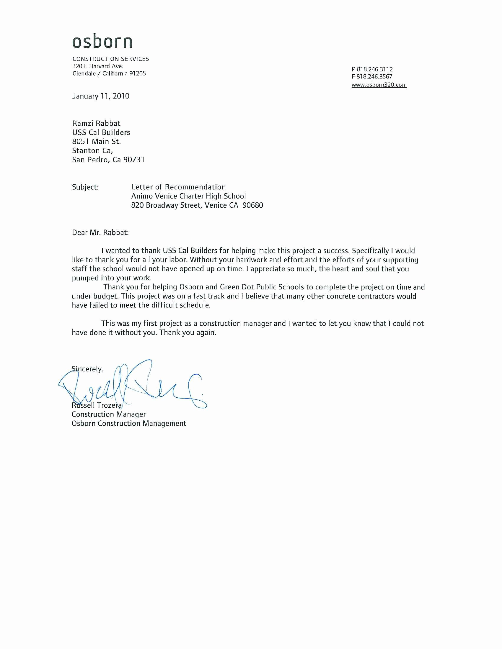 Template Letter Of Recommendation New Download Letter Of Re Mendation Samples
