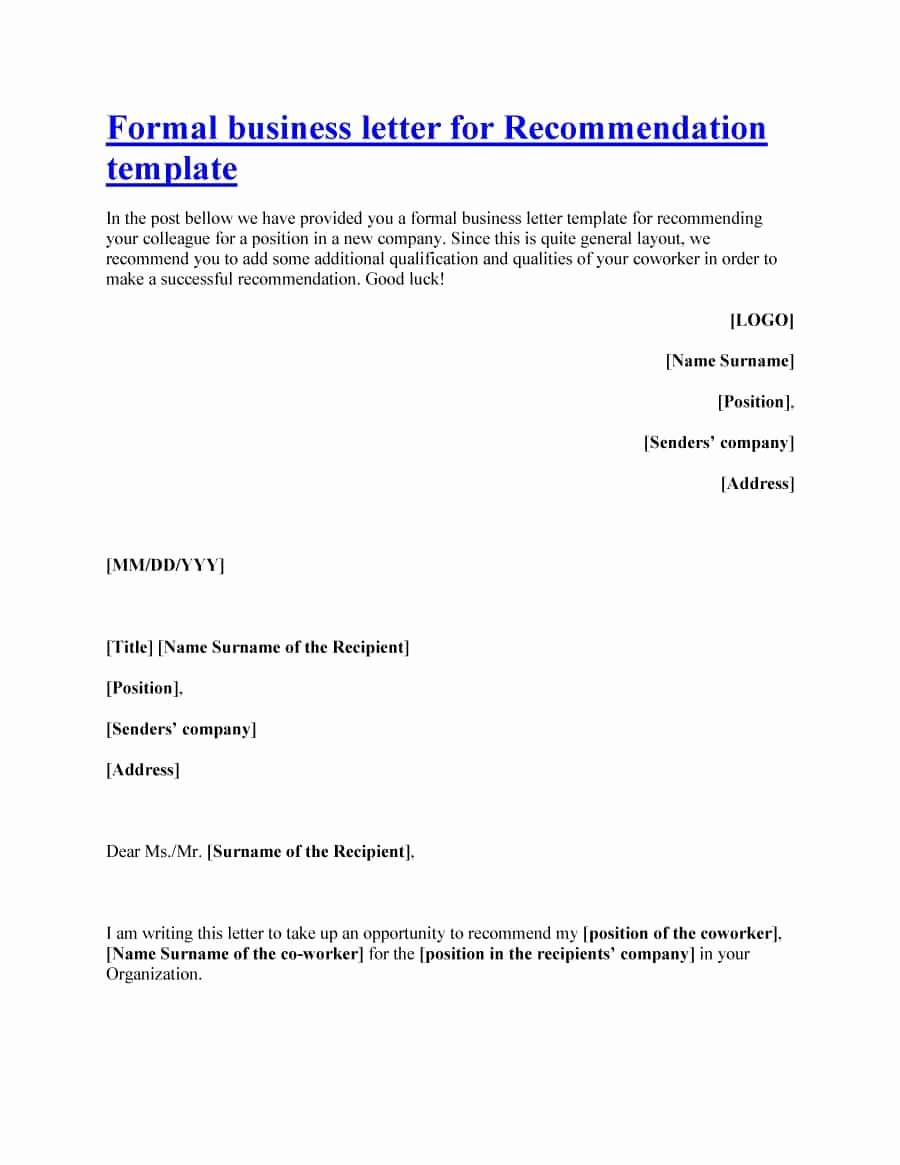 Template Letter Of Recommendation Unique 43 Free Letter Of Re Mendation Templates & Samples