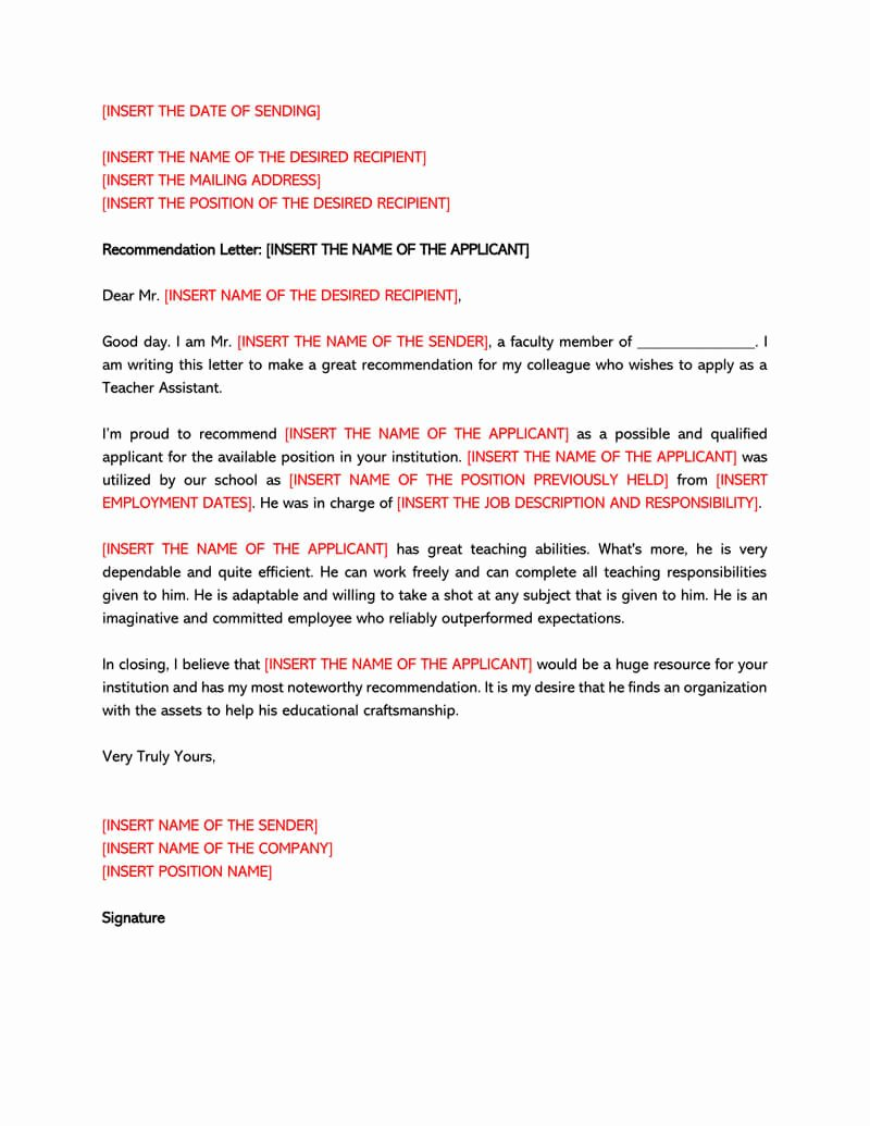 Template Letter Of Recommendation Unique Re Mendation Letter for A Teacher 32 Sample Letters