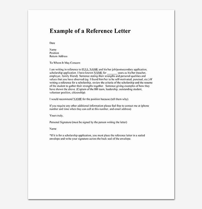 Template Of Letter Of Recommendation Inspirational Reference Letter Template 28 Examples & Samples