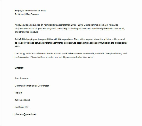 Template Of Letter Of Recommendation Unique Job Re Mendation Letter Templates 15 Sample Examples