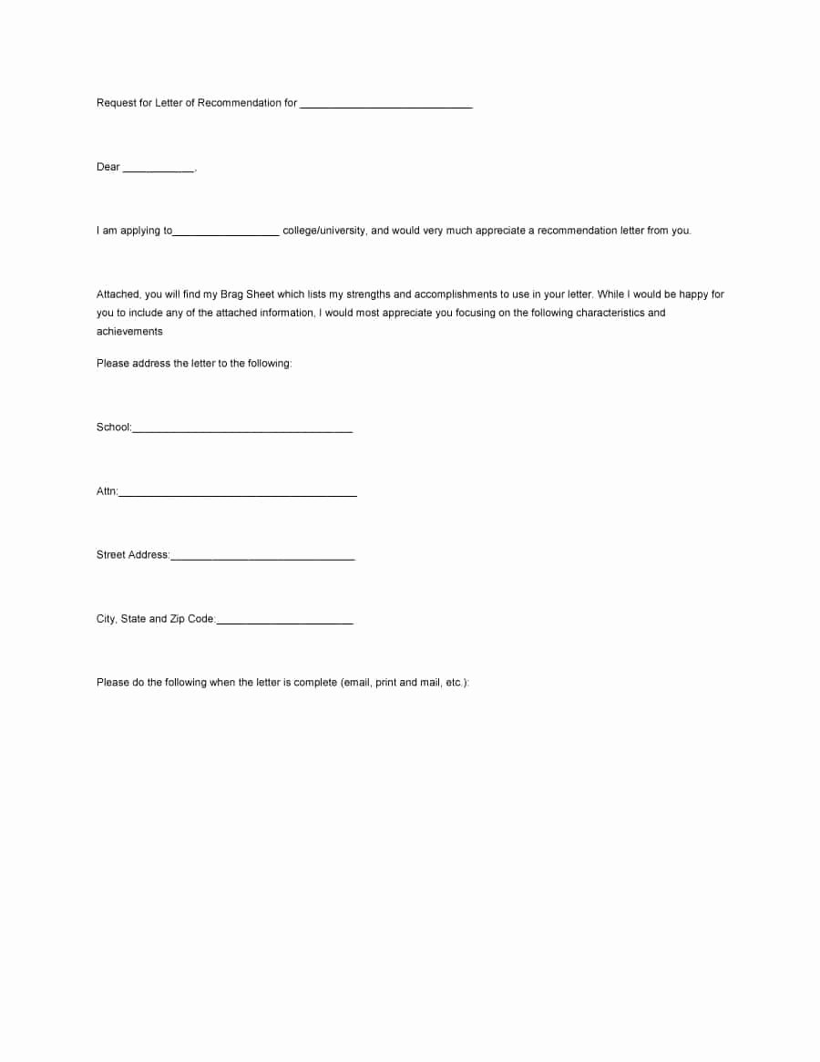 Templates for Letters Of Recommendation Inspirational 43 Free Letter Of Re Mendation Templates & Samples