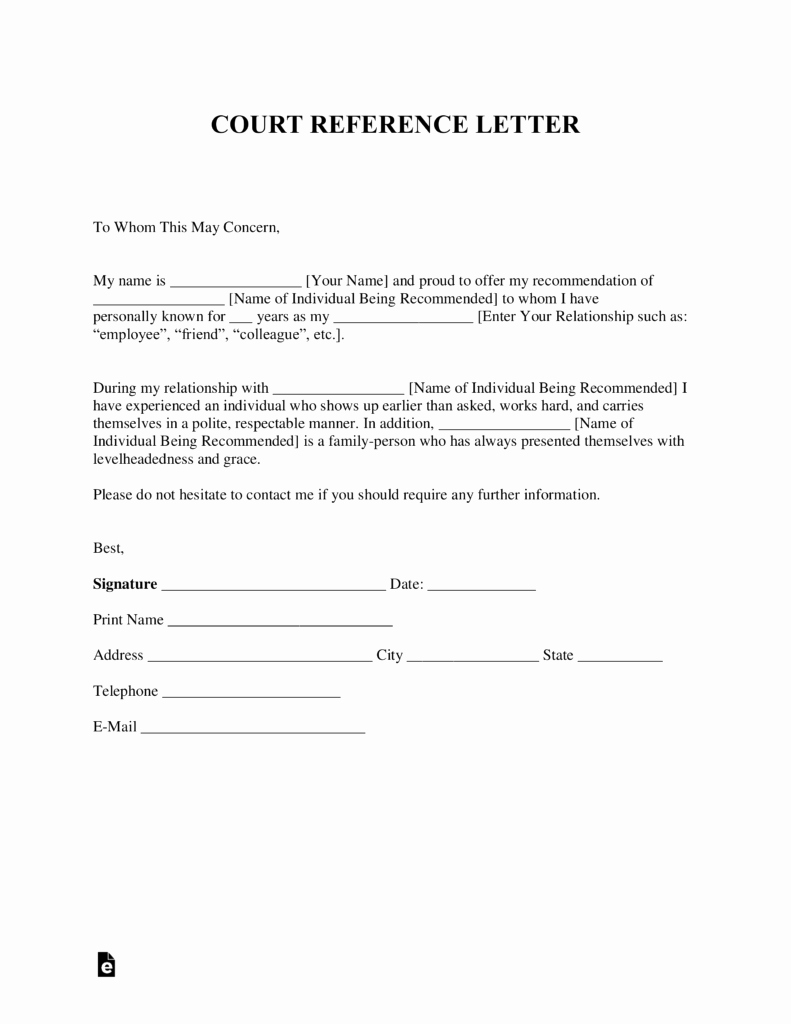 Templates for Letters Of Recommendation Lovely Free Character Reference Letter for Court Template