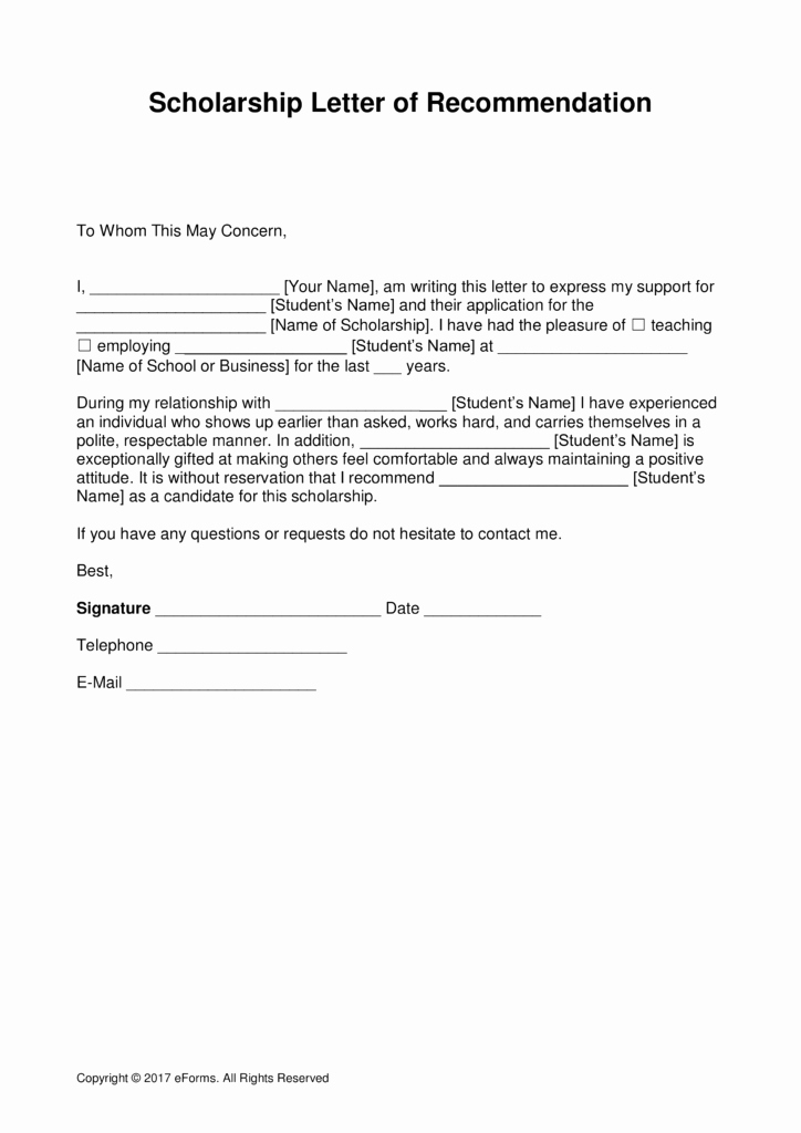 Templates for Letters Of Recommendation New Free Scholarship Re Mendation Letter Template with