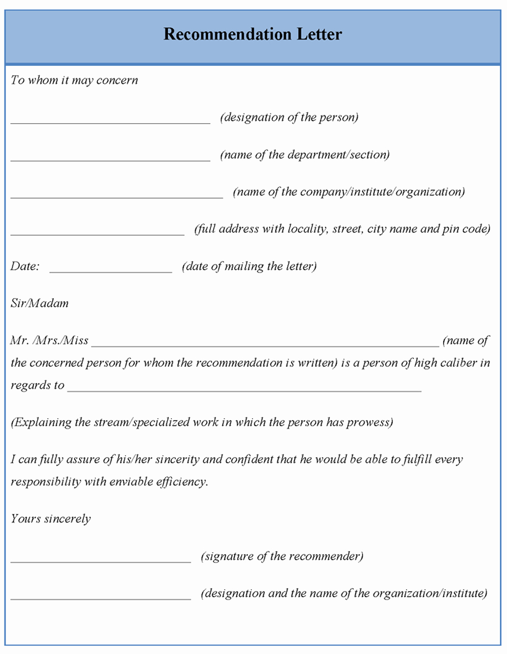 Templates for Letters Of Recommendation New Template for Letter Re Mendation