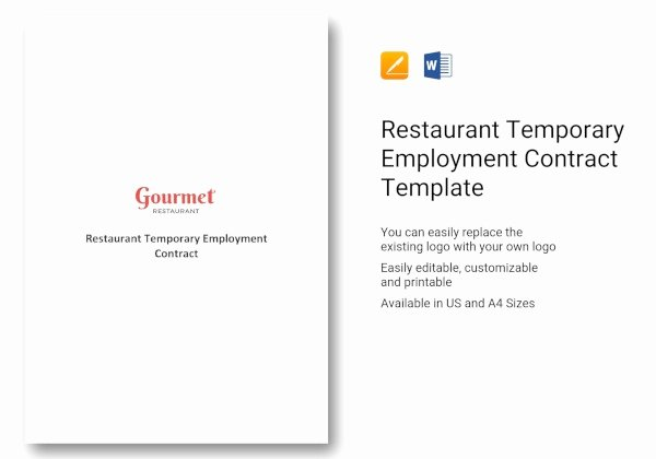 Temporary Employment Contract Template Best Of 13 Restaurant Contract Templates In Google Docs