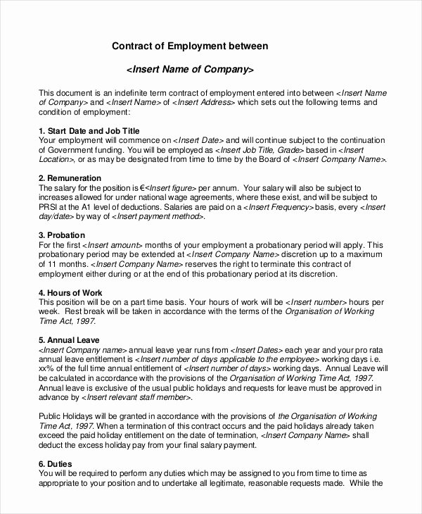 Temporary Employment Contract Template Elegant Employment Contract Template 21 Sample Word Apple