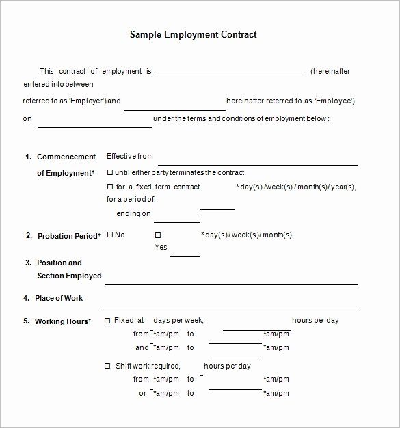 Temporary Employment Contract Template Fresh 18 Job Contract Templates Word Pages Docs