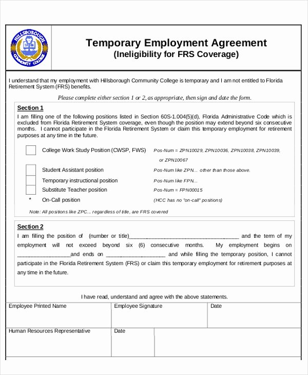 Temporary Employment Contract Template Fresh 6 Temporary Employment Agreement Templates Pdf Google