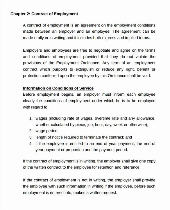 Temporary Employment Contract Template Fresh Employment Contract 9 Download Documents In Pdf Doc