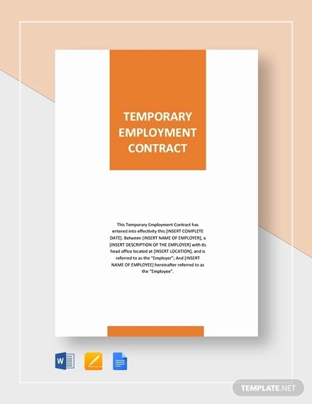 Temporary Employment Contract Template Inspirational 22 Examples Of Employment Contract Templates Word