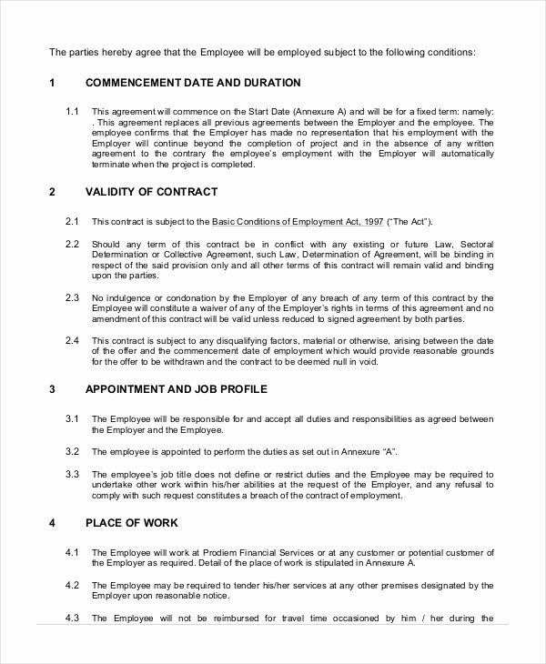 Temporary Employment Contract Template Inspirational Employment Contract Template 21 Sample Word Apple