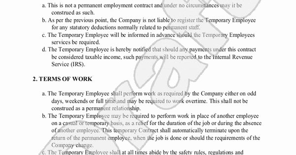 Temporary Employment Contract Template Lovely Sample Temporary Employment Contract form Template