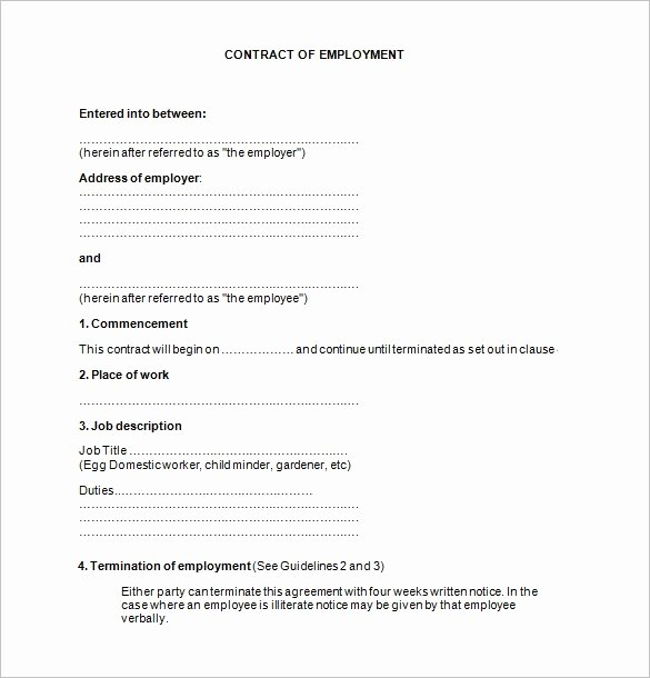Temporary Employment Contract Template Luxury 18 Job Contract Templates Word Pages Docs