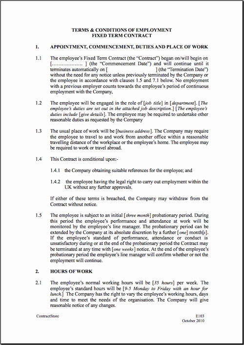 Temporary Employment Contract Template Luxury Template for Employment Contract