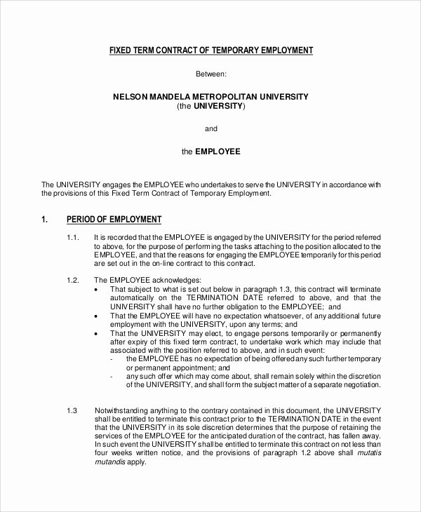 Temporary Employment Contract Template New 18 Employment Contract Templates Pages Google Docs