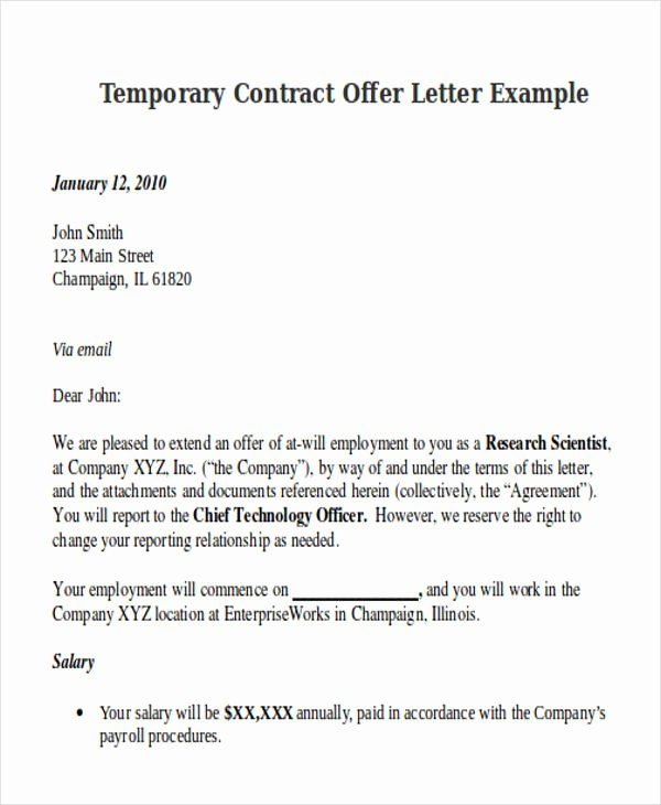 Temporary Employment Contract Template New Contract Fer Letter Templates 9 Free Word Pdf format