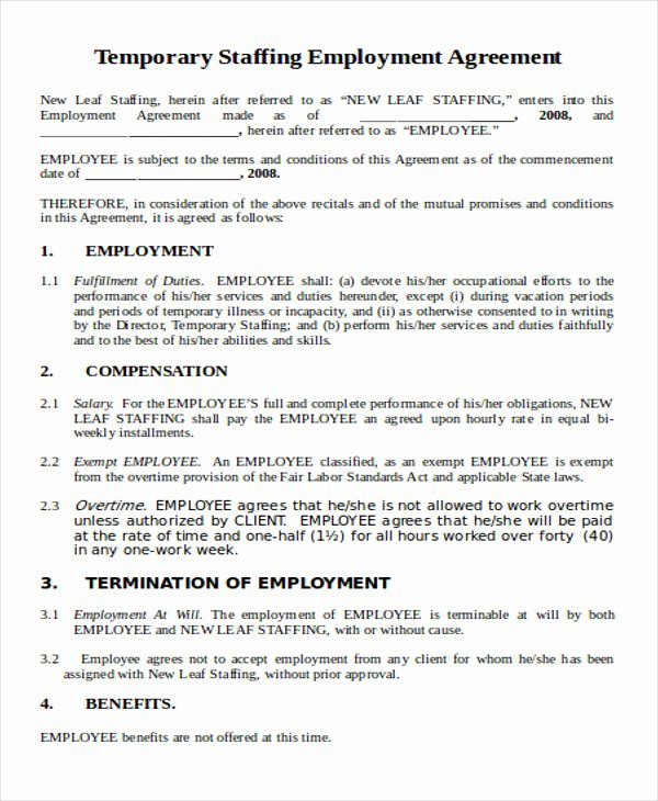Temporary Employment Contract Template Unique 44 Agreement Templates In Word