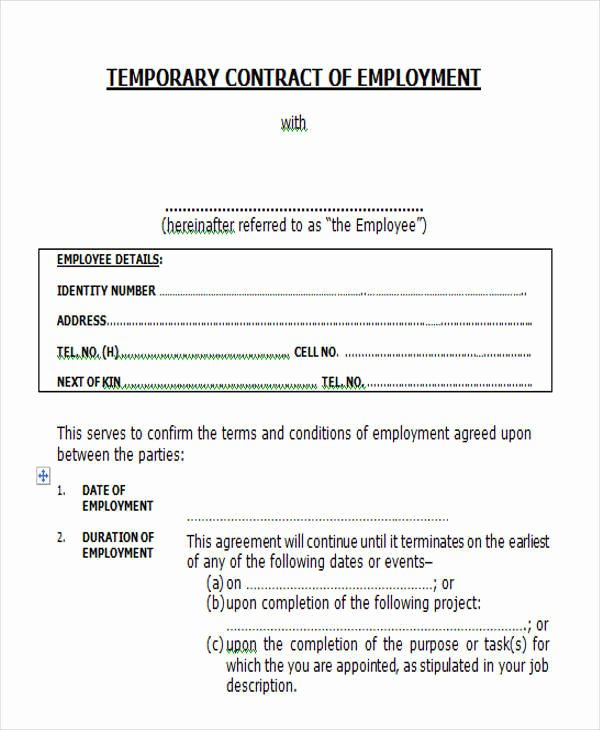 Temporary Employment Contract Template Unique 51 Sample Contract Templates Pages Docs Word