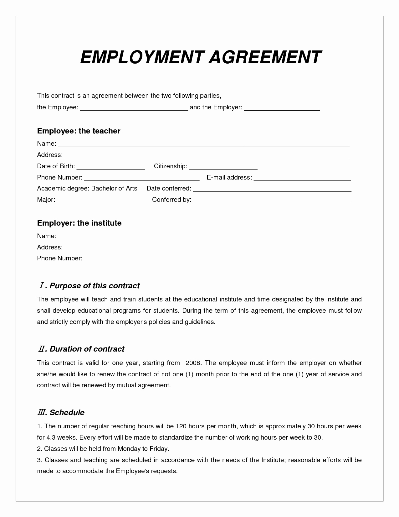 Temporary Employment Contract Template Unique Employee Contract Agreement