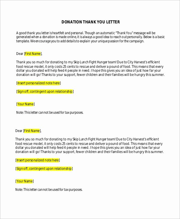 Thank You Donation Letter Template Awesome Sample Donation Thank You Letter 10 Examples In Word Pdf