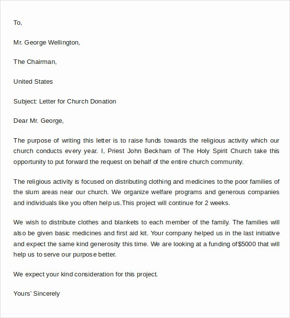 Thank You Donation Letter Template Inspirational Sample Thank You Letter for Donation to Church
