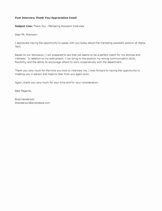 Thank You Email Template Awesome What is Thank You Email after Interview
