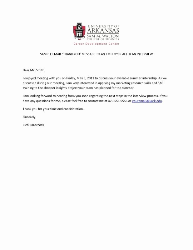 Thank You Email Template Beautiful Thank You Email after Interview Template