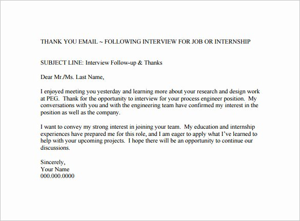 Thank You Email Template Inspirational 14 Thank You Email after Interview Doc Excel Pdf