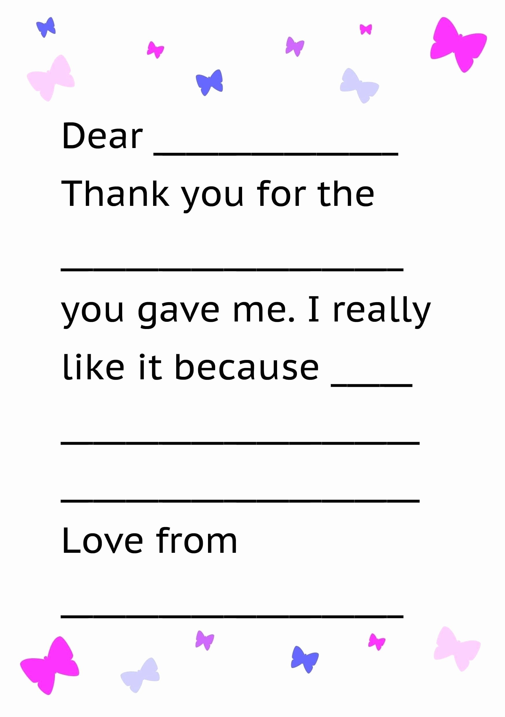 Thank You Letter Templates Beautiful Thank You Letter Template for Kids