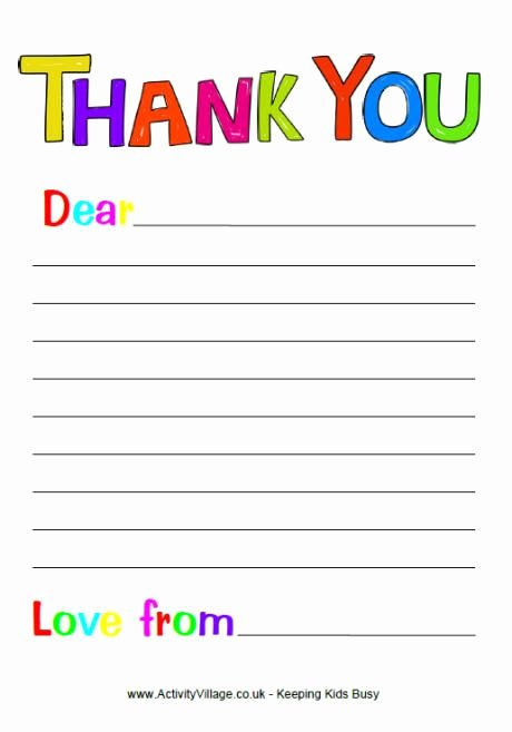 Thank You Letter Templates Elegant Free Printable Thank You Note Paper for Children