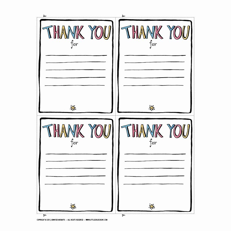 Thank You Letter Templates Fresh Thank You Printable Jennie Moraitis