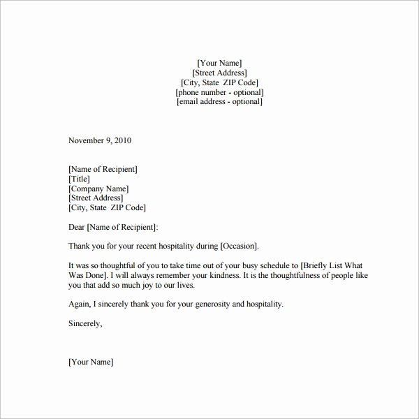 Thank You Letter Templates Lovely Sample Thank You Note 9 Documents In Word Pdf