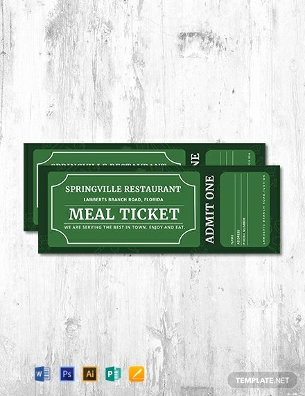 Ticket Template for Pages Awesome Free Meal Ticket Template Word Psd Indesign