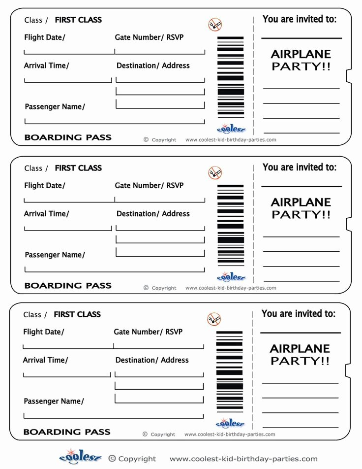 Ticket Template for Pages Best Of Printable Airplane Boarding Pass Invitations Coolest