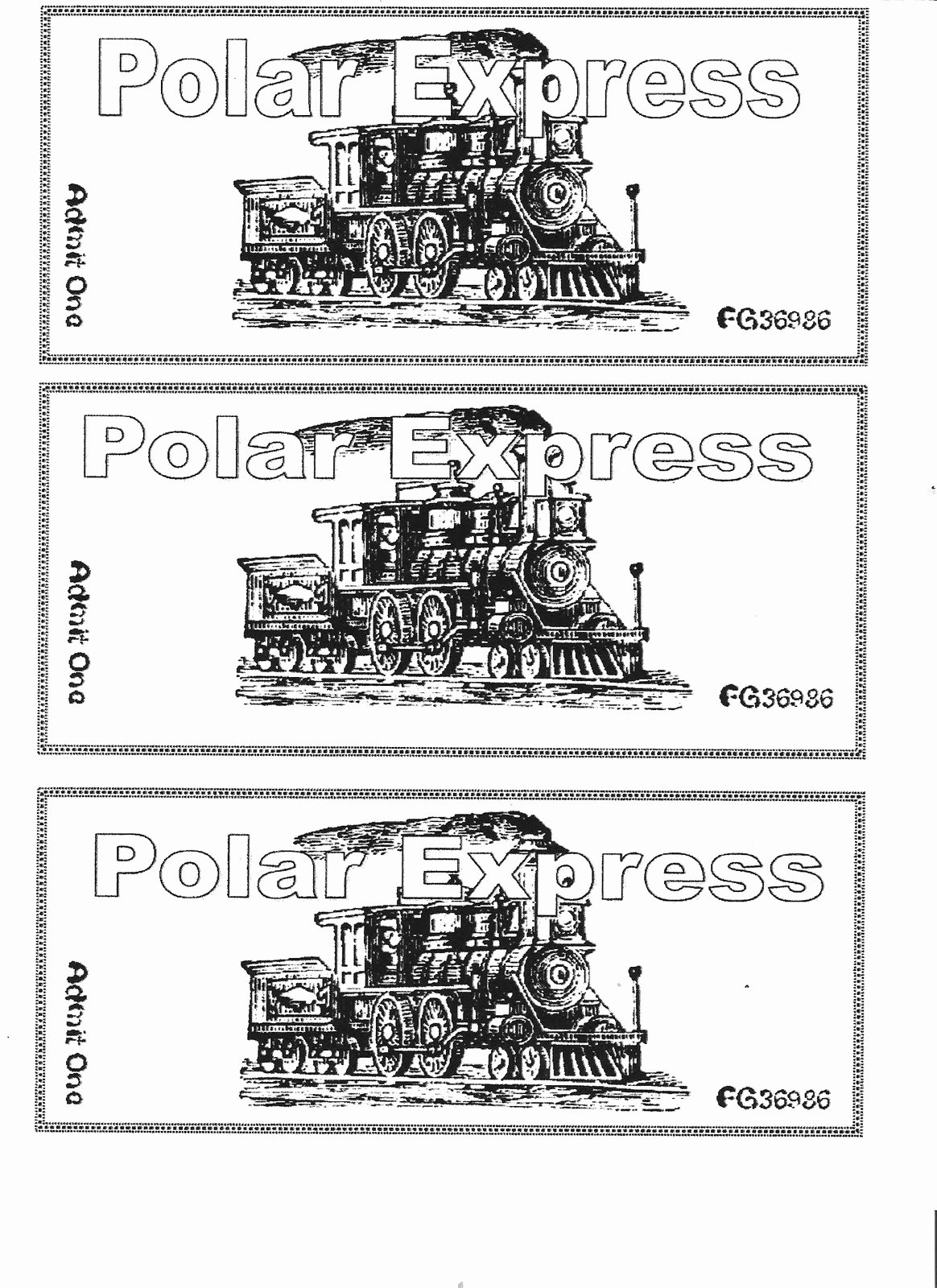 Ticket Template for Pages Best Of the Alphabet Garden Polar Express Day