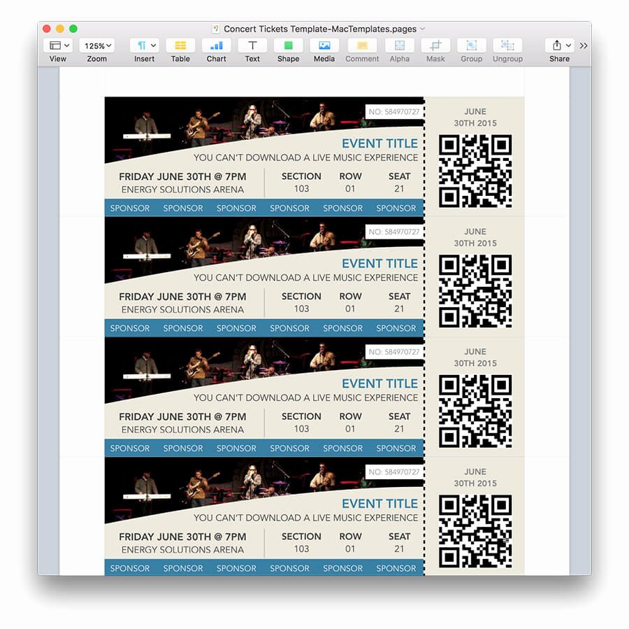 Ticket Template for Pages Elegant Concert Tickets Template for Pages