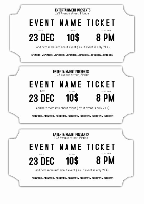 Ticket Template for Pages Inspirational event Ticket Template Black and White Printable