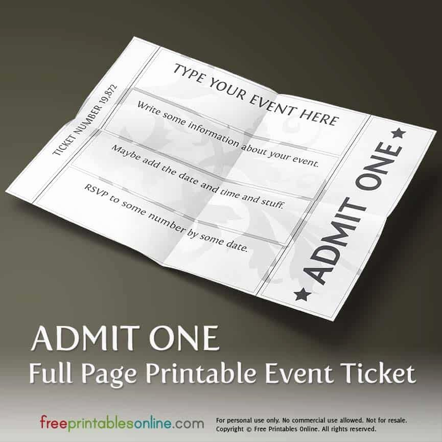 Ticket Template for Pages New Printable Full Page Ticket Template Free Printables Line