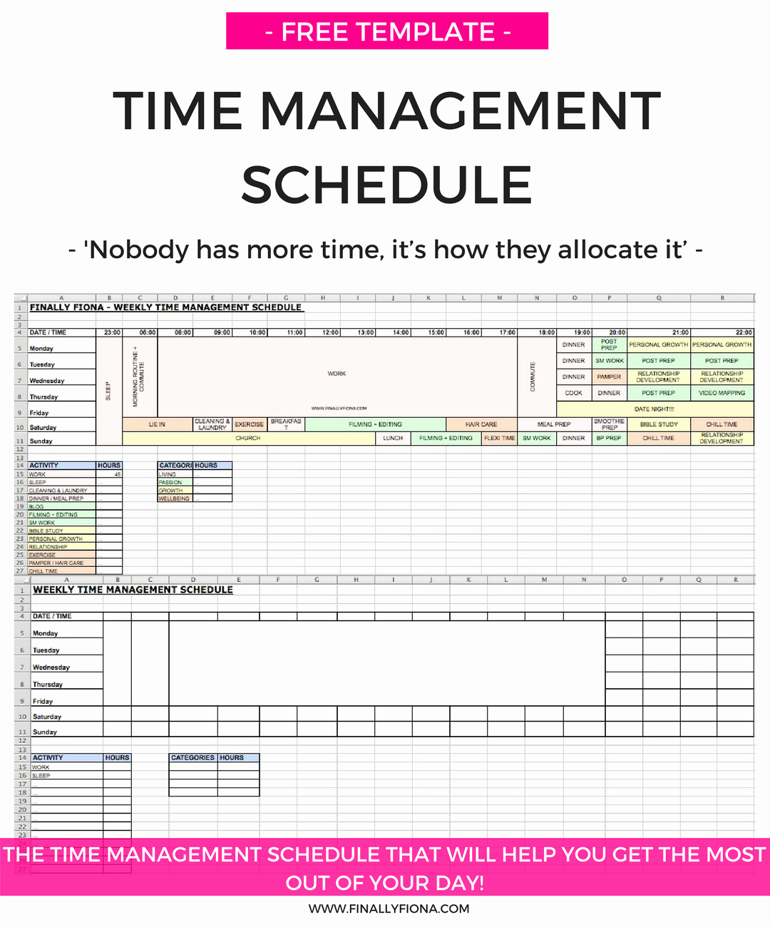 Time Management Sheet Template Elegant My Time Management Schedule & How I Get the Most Out