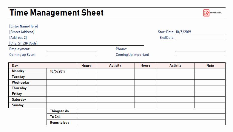 Time Management Sheet Template Fresh Time Management Worksheet Excel & Pdf Template