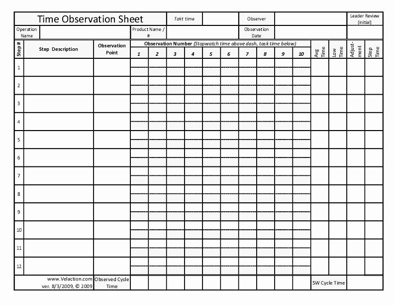 Time Study Template Excel Lovely Time Observation Sheet Free form for Documenting Lean