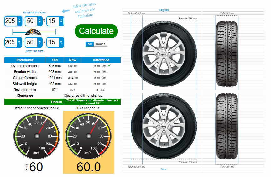 Tire Size Comparison Chart Template New Tire Size Calculator Pare Tires Online